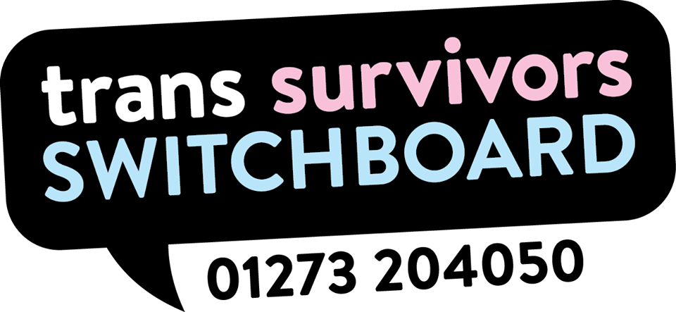 The text for trans survivors switchboard in a black speech bubble, with the helpline number '01273204050' written below it,